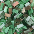 Glass mosaic aventurina 10x20 mm, various green